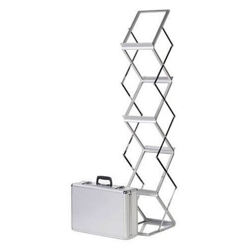 Portable zig-zag brochure stand